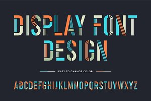 Stencil line font. Colorful