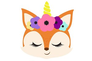 Unicorn fox clipart skittles rainbow