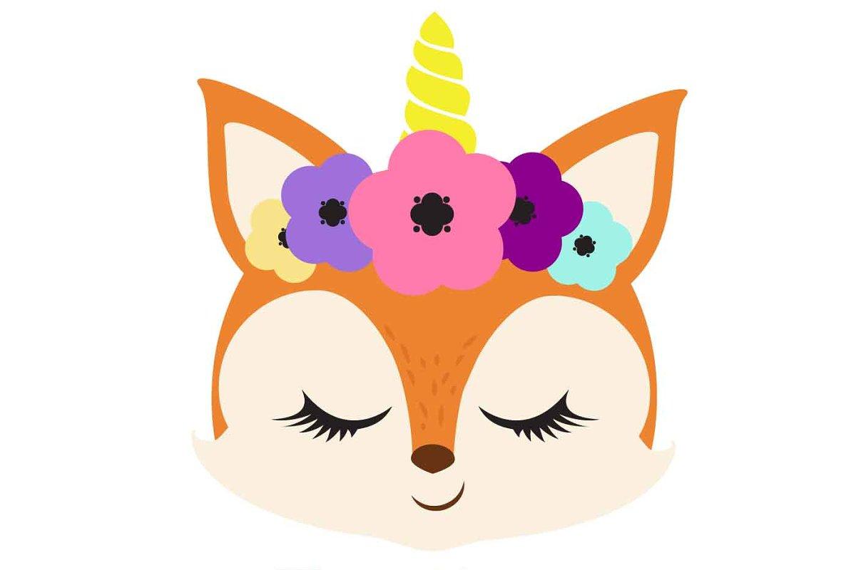 Unicorn fox clipart skittles rainbow