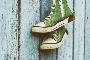 old green classic sneakers