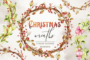 Winter Christmas wreaths clipart