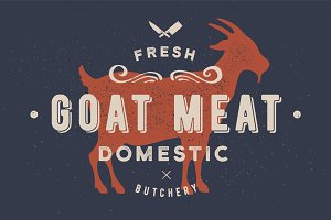 Goat meat. Vintage logo, retro print