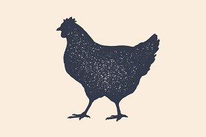 Hen, chicken. Vintage logo, retro
