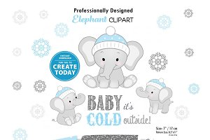Winter Boy Elephant Clipart