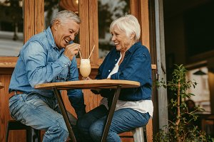 Senior couple having great time