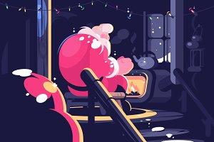 Santa sitting near fireplace