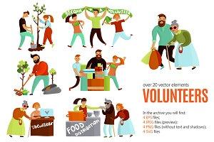 Volunteers Cartoon Set