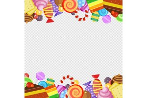 Abstract frame with sweets. Colorful