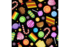 Sweets seamless pattern. Biscuits