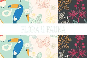 Flora And Fauna Hand Drawn Patterns