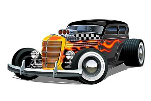 Cartoon retro hot rod isolated on