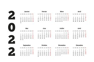 2022 year simple calendar on french