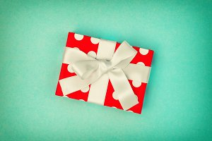 Gift box decoration turquoise backgr