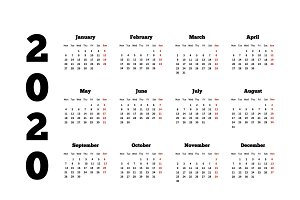 Calendar on 2020 year on white