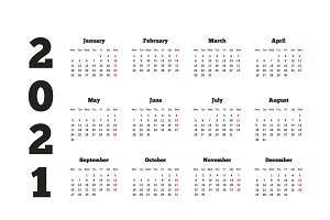 Calendar on 2021 year on white