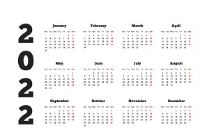 Calendar on 2022 year on white