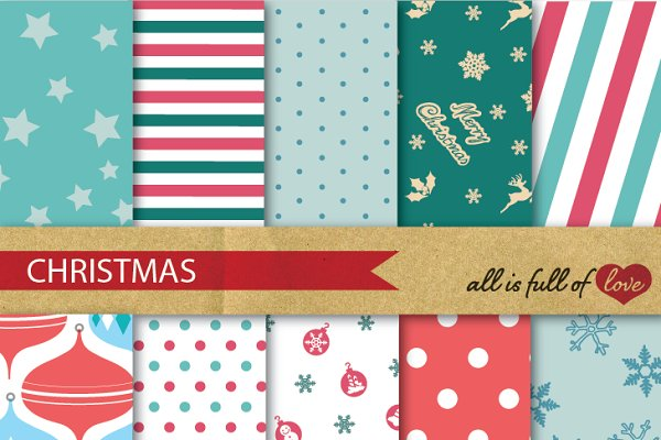Christmas Digital Background Patter…