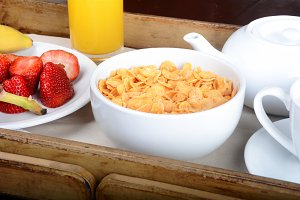 Breakfast tray with coffee, orange j