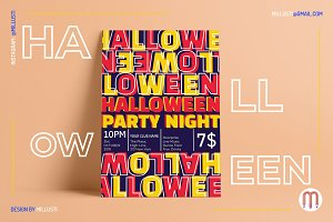 Typography Neon Halloween Night