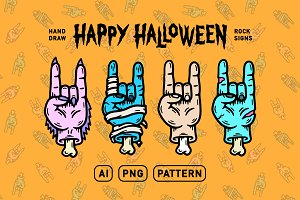 HALLOWEEN HANDS ROCK SIGN ICONS