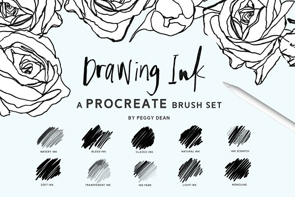 Photoshop Brushes: The Pigeon Letters - 10 Drawing Ink Procreate Brushes