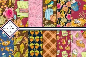 Fall Autumn Digital Patterns / Paper