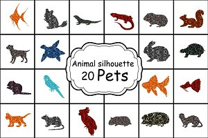 Set 20 colorful silhouettes pet
