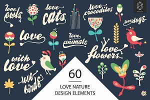 Love nature vector design elements