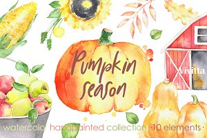 Watercolor Pumpkins, Autumn harvest