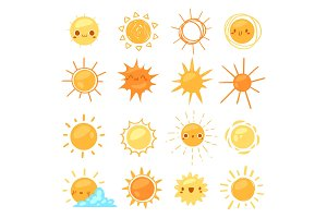 Sun vector sunny icon with yellow
