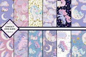 Cute Unicorn Digital Patterns Papers
