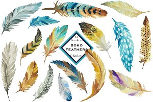 Brown and Blue Feather Clip Art