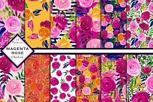 Pink Magenta Orange Rose Patterns