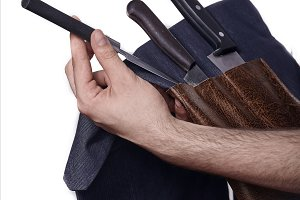 close up, man hands holding set of c