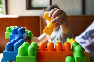 Child playing with cubes