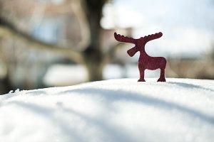 Wooden Christmas deer on snow.