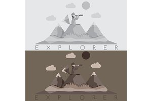 explorer with spyglas