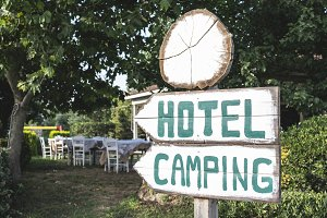 Hotel camping signboard