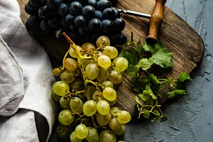 Autumnal concept with grape and wine
