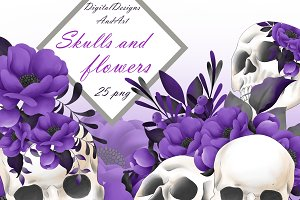 Skulls and flowers clipart
