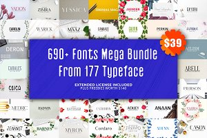 690+ Fonts Mega Typography Bundle