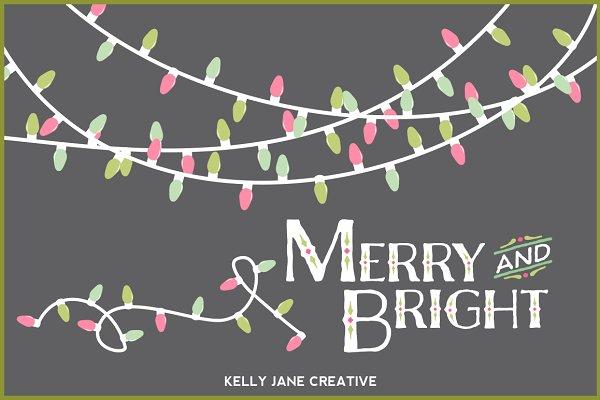 Pastel Christmas Lights- Vector