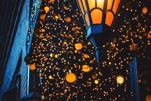 A Magical Old Street Lanterns Shines