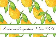 Watercolor lemon seamless pattern.