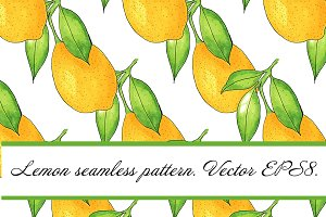 Watercolor lemon seamless pattern.