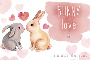 Watercolor Bunny Love Clipart