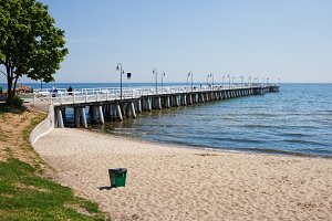Beach and Pier at Baltic Sea