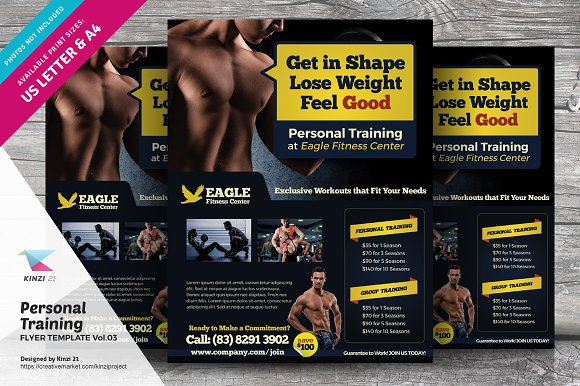 personal training flyer vol 03 flyer templates creative market