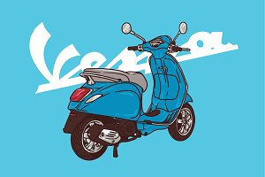 vespa blue illustration