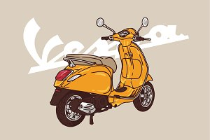 vespa orange illustration